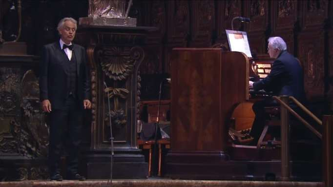 Andrea Bocelli's performs 'Amazing Grace' during Easter concert.