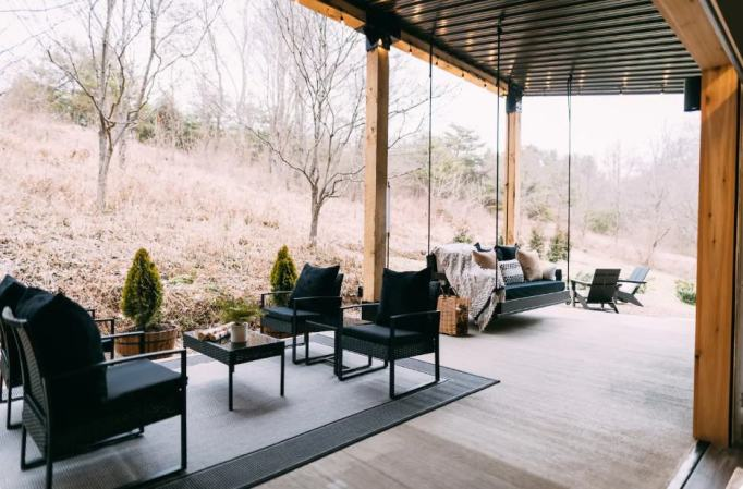 The patio of the shipping container home
