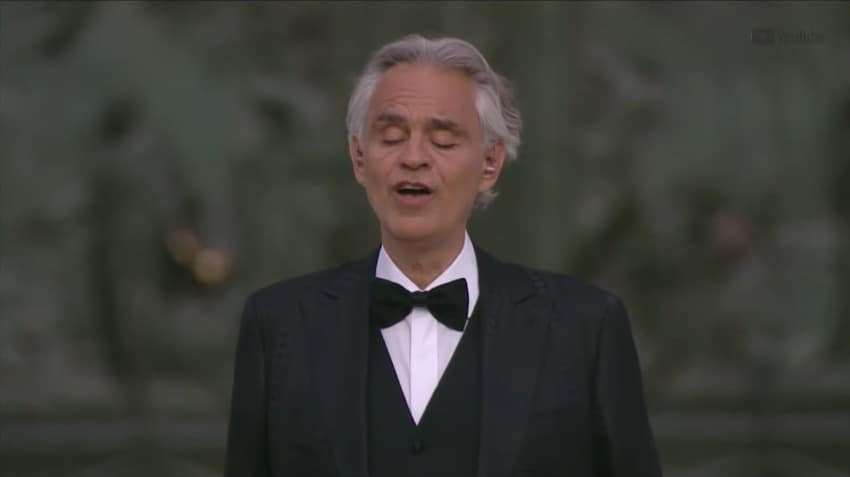 Andrea Bocelli performs 'Amazing Grace' during Easter concert.