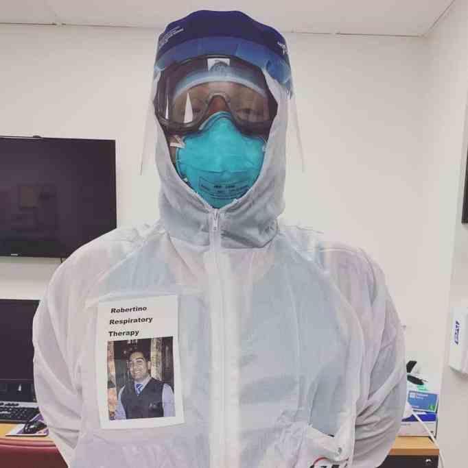 An ER medical worker wearing a face shield.