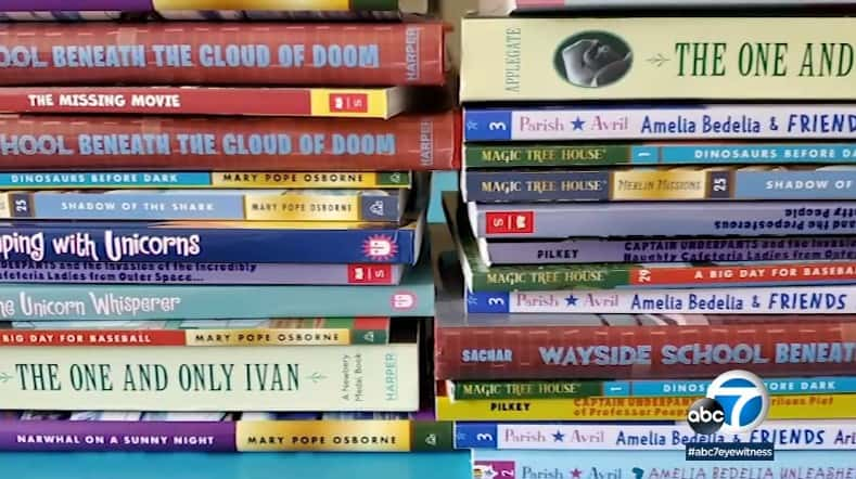 Teacher gets hundreds of books for remote learning.