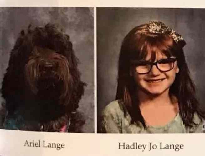 At schook, service dog was included in the yearbook.