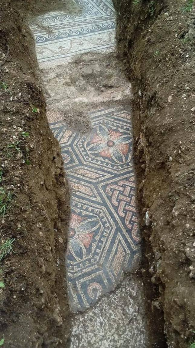 Archaeologists discover ancient roman mosaic.