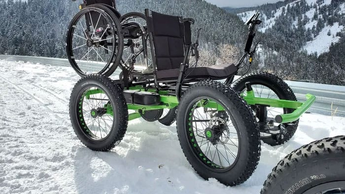 Electric wheelchair that can go off-road.