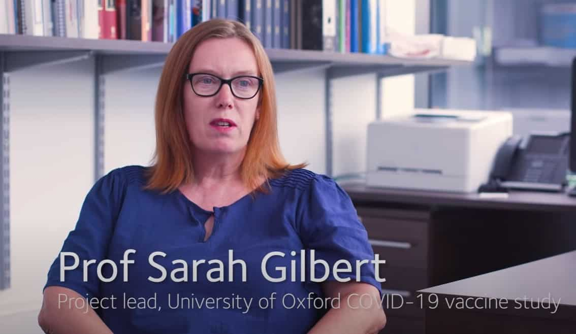 The female scientist, Sarah Gilbert, leading Oxford vaccine team.