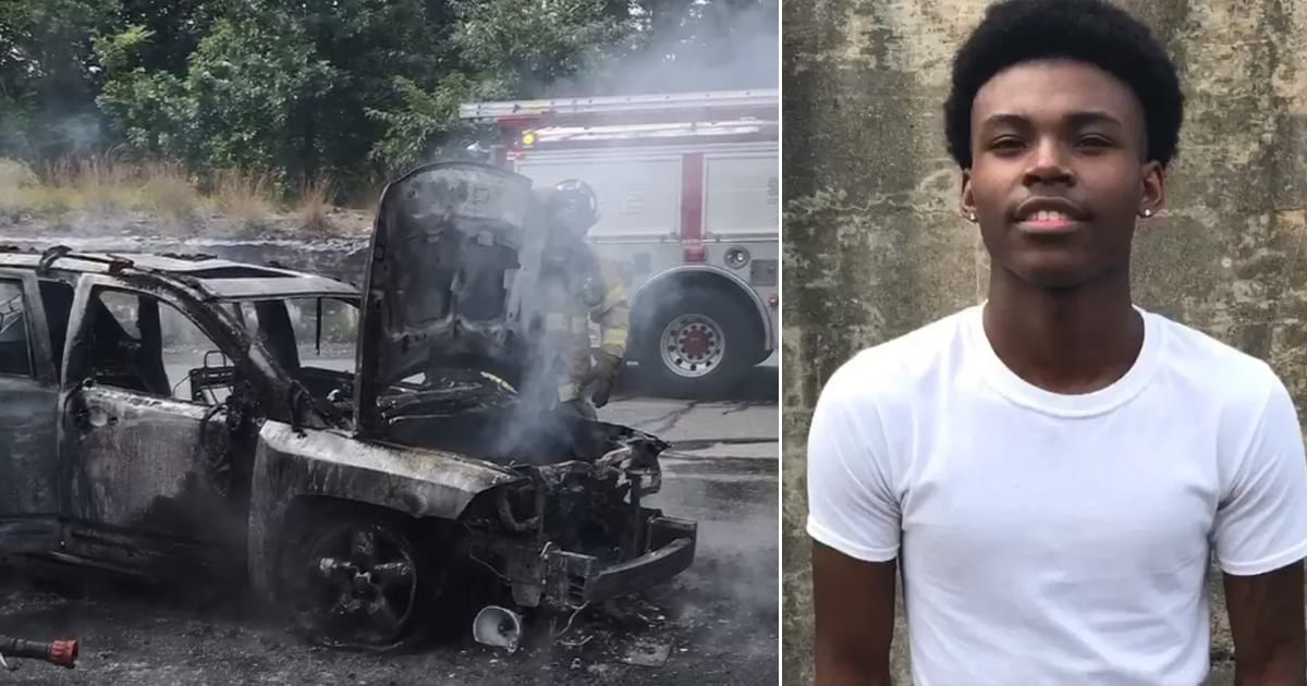 A brave teen saves the lives of a mom and three children by pulling them from a burning car - my positive outlooks