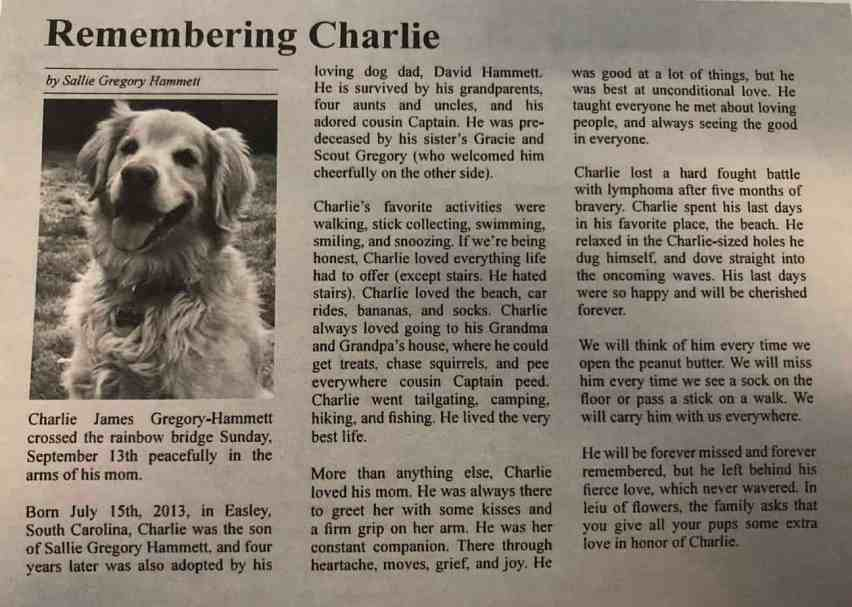 Charlie's obituary