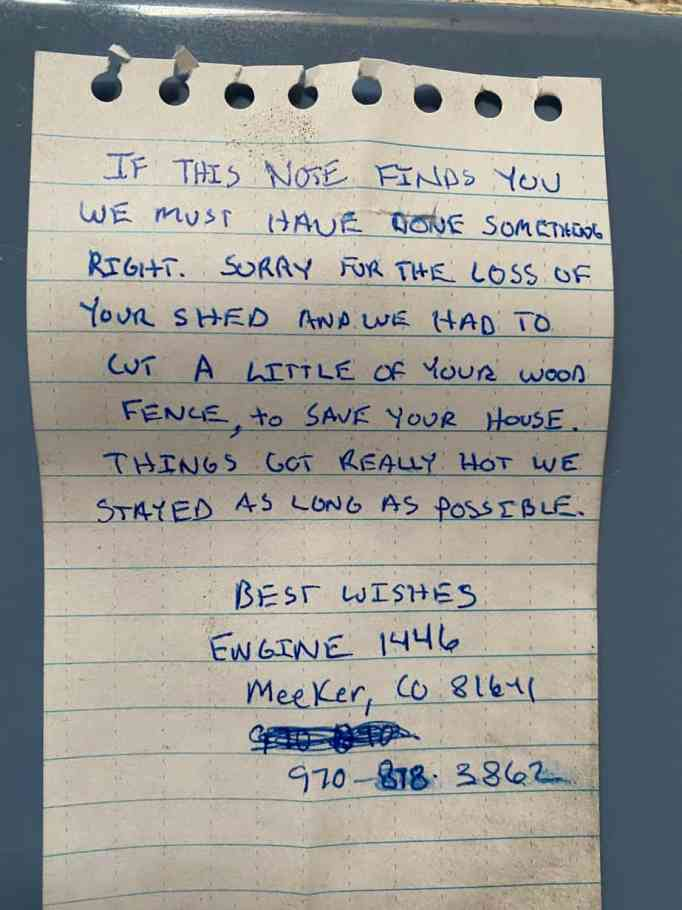 The note left in the cabin by firefighters