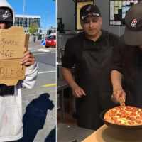 Domino's owner chats with homeless man begging for money and ends up giving him a job