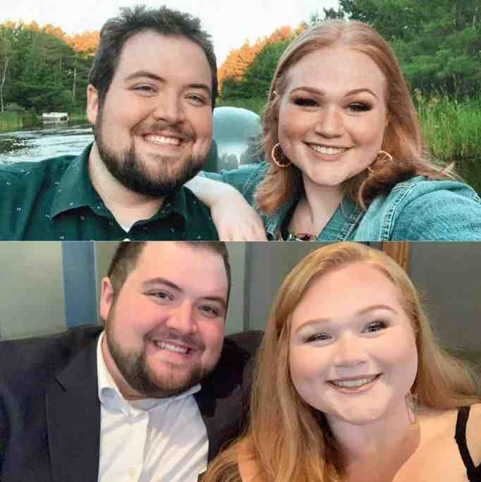 Before and after photos of the couple beaming with pride.