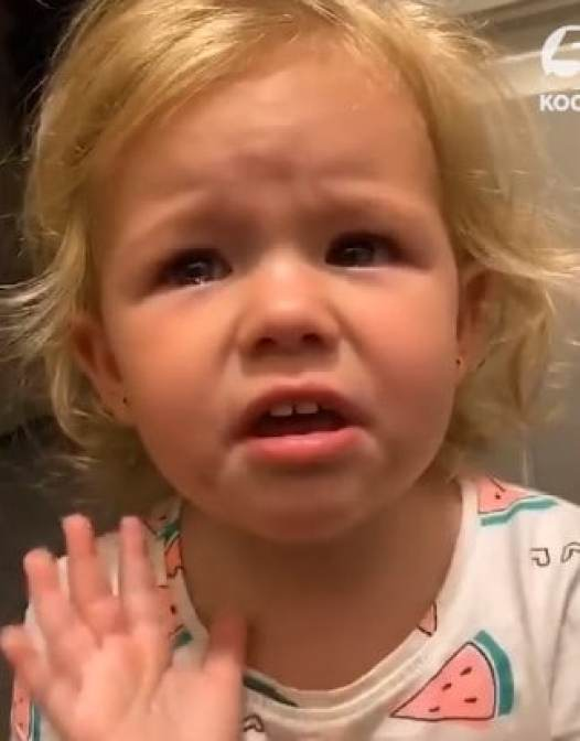 A little girl crying because she smashed her fingers in a door