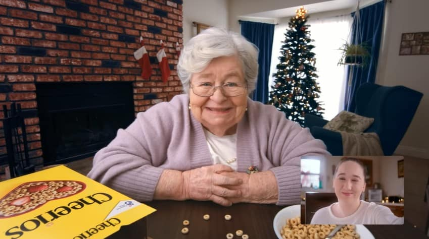 The grandma in the Cheerios Christmas commercial talking to her 'grandkid' online.