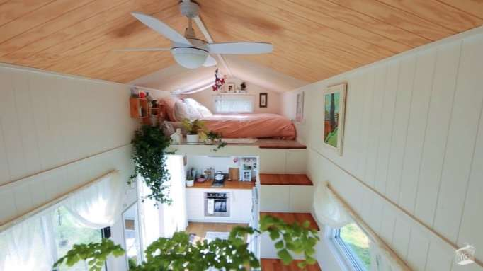 The cozy second level of the tiny home.
