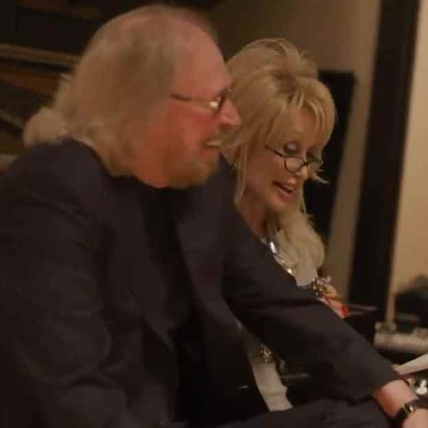 Barry Gibb and Dolly Parton recording Words