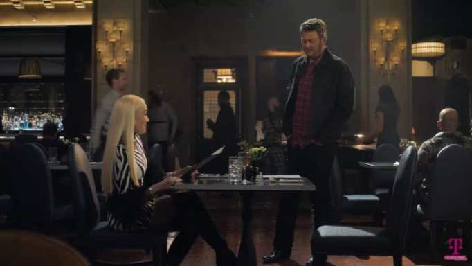 Gwen Stefani and Blake Shelton in a T-Mobile ad