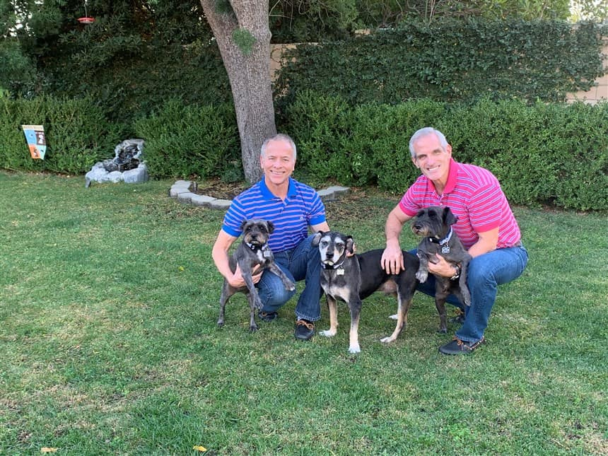Bernie Knobbe and Tim Belavich with their dogs