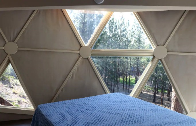 The view from inside the bedroom in Dome Sweet Home