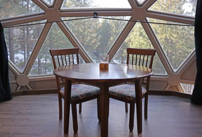 The dining area inside Dome Sweet Home