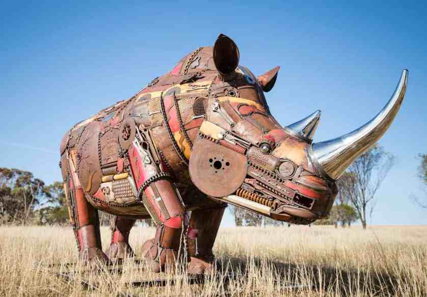 Jordan Sprigg's masterpiece, an extinct African rhino made from recycled metals found from retired machinery, scrap heaps and clearance sales