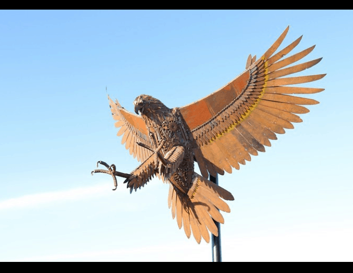 A majestic sculpture of an Eagle, crafted by the metalwork artist - Jordan Sprigg