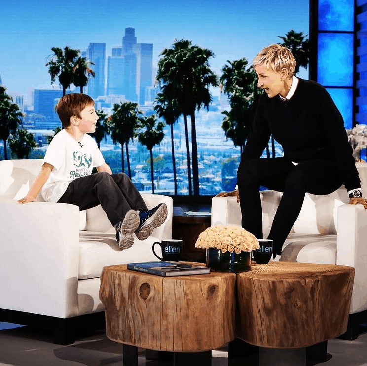 Ryan. the 11-year-old kid who has a successful recycling company, appeared on Ellen.