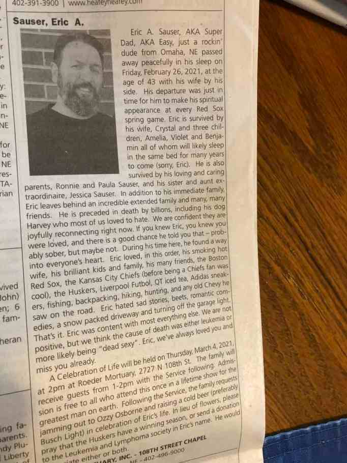 Eric Sauser's obituary on the newspaper