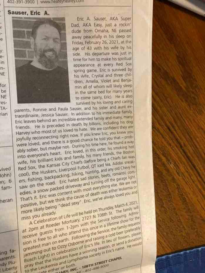 Некролог Эрика Саузера в газете