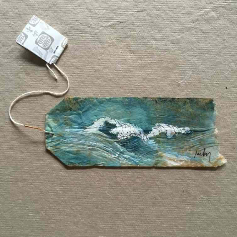 A tea bag painting by Ruby Silvious
