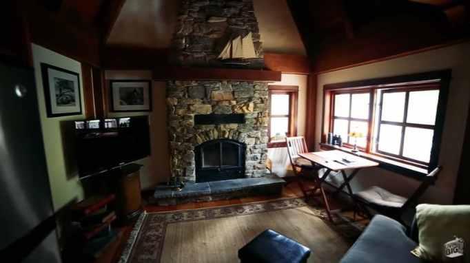 The living room inside Winckler Cottage
