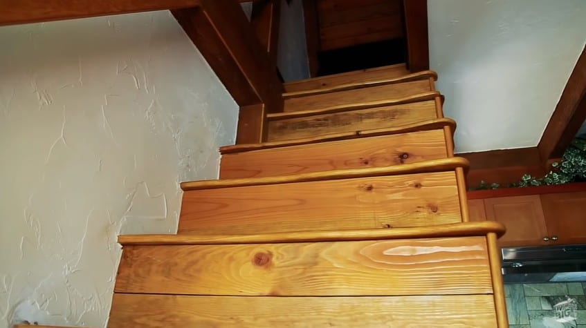 The stairs going to the loft inside Winckler Cottage