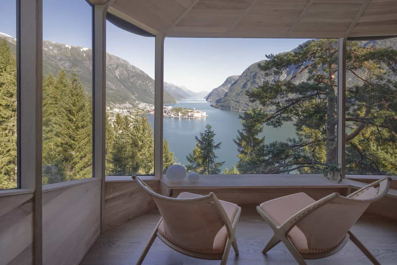 A view from inside the Woodnest cabin in Odda, Norway
