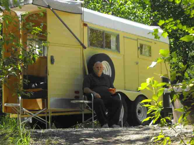 Fred Cote and his camper trailer