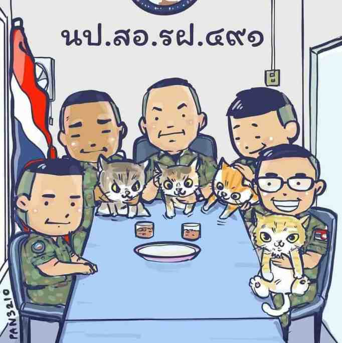An artwork depicting the Royal Thai Navy and the rescued cats