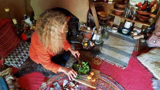 Emma preparing her food