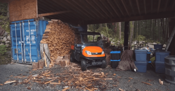 The family's stock of woods to keep their off the grid home warm and cozy
