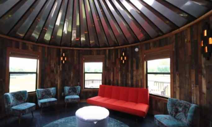 The living area inside a silo home