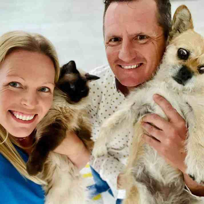 Dion Leonard, his wife, their cat, and Gobi