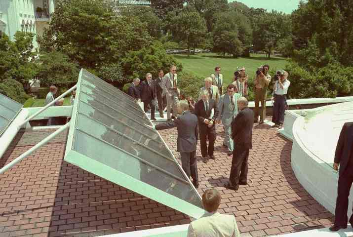 Former President Jimmy Carter showing his White House solar panels in 1979