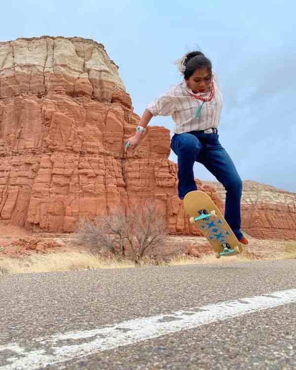 Naiomi Glasses skateboarding