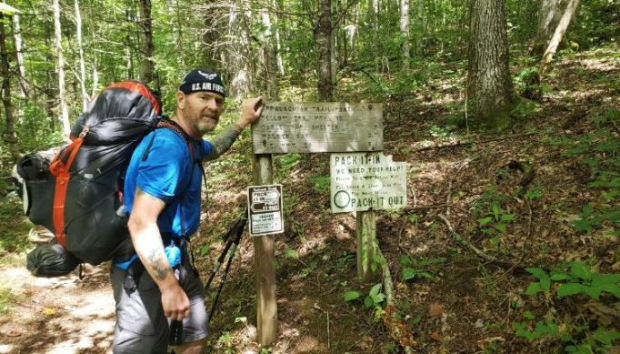 Dan posing at one of the trail signs.
