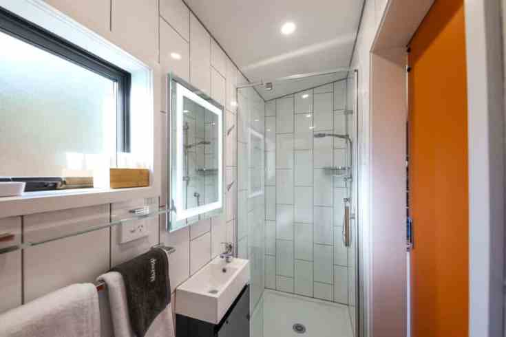 The bathroom inside a tiny home