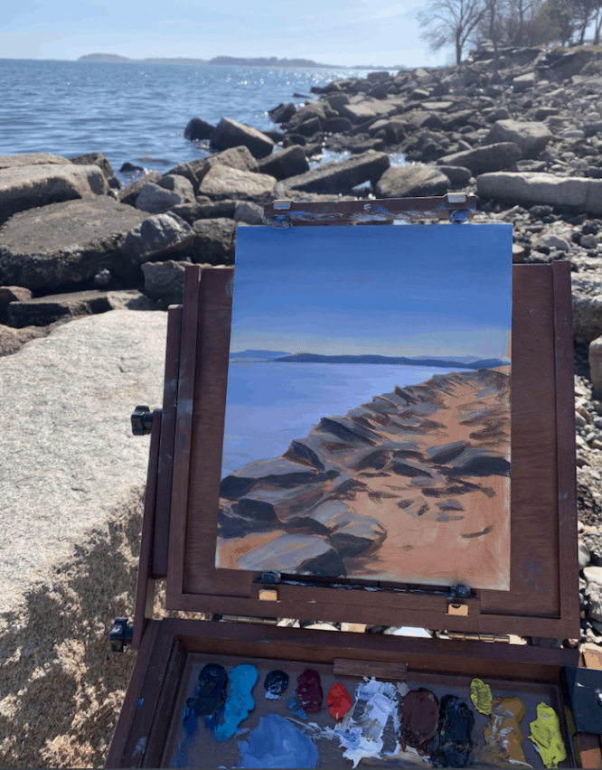 An oil painting of rocks by the ocean