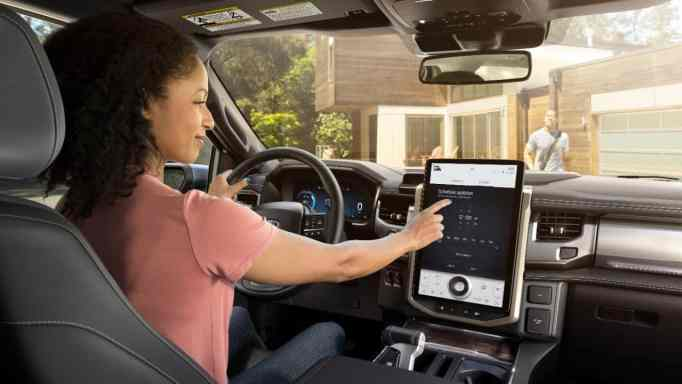 The F-150 Lightning comes with a connected car tech and advanced driving assistance features.