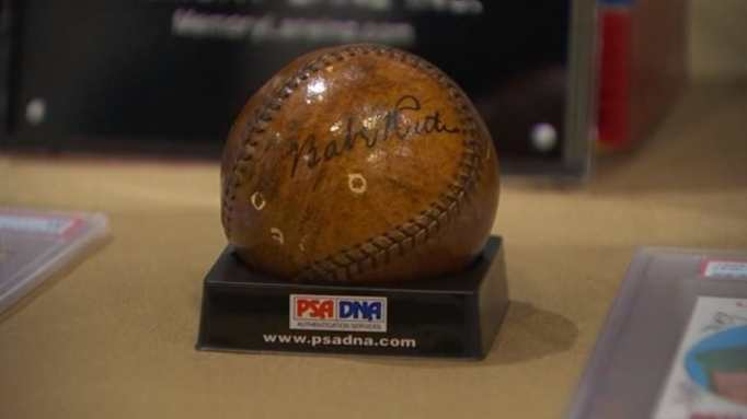 A baseball signed by Babe Ruth