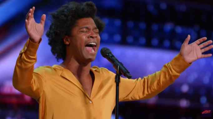 Jimmie Herrod singing on the America's Got Talent stage