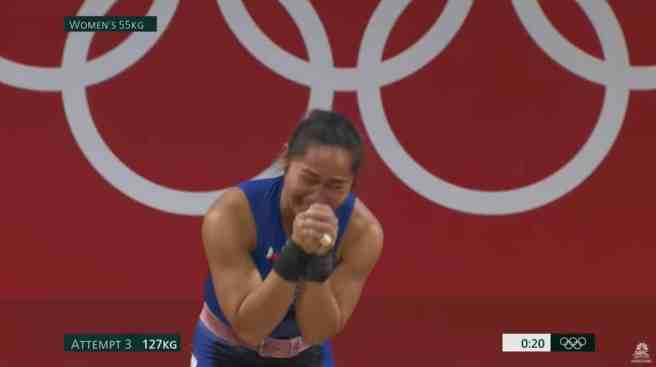 Hidilyn Diaz competing crying with joy after her gold medal win