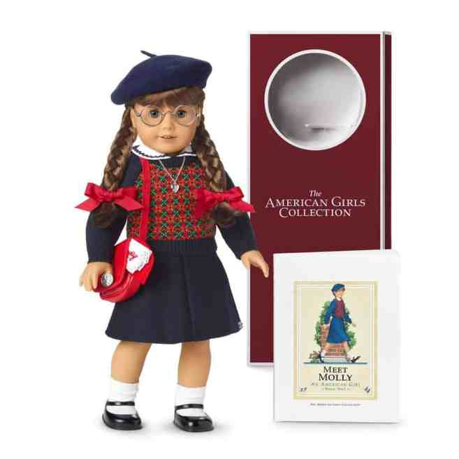 American Girl doll Molly McIntire with her book