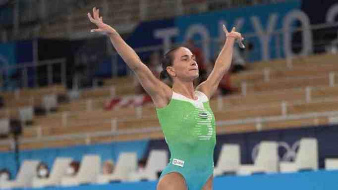 Oksana Chusovitina during the Tokyo Olympics