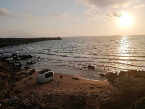The Ecocapsule in a beach