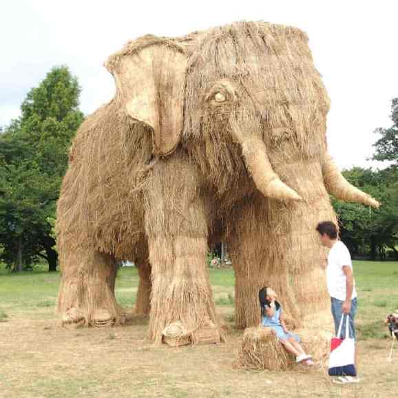 A rice straw sculpture exhibited in the Wara Art Festival in Japan